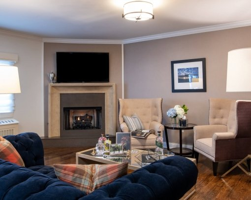 Sitting Nook in Guest Suite with Fireplace and Plush Furniture